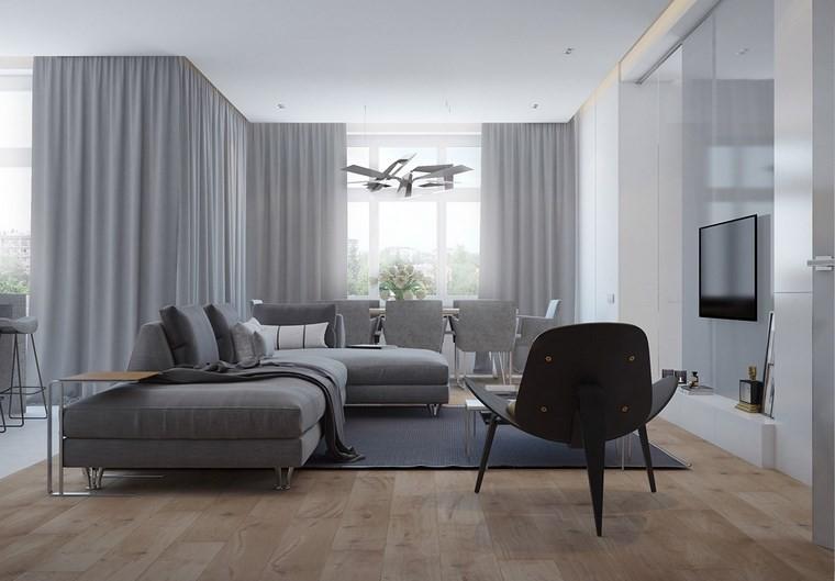 salones muebles modernos suelo madera ideas