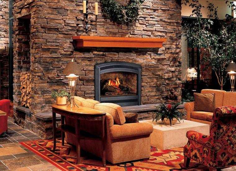 diseño chimenea pared muro piedra