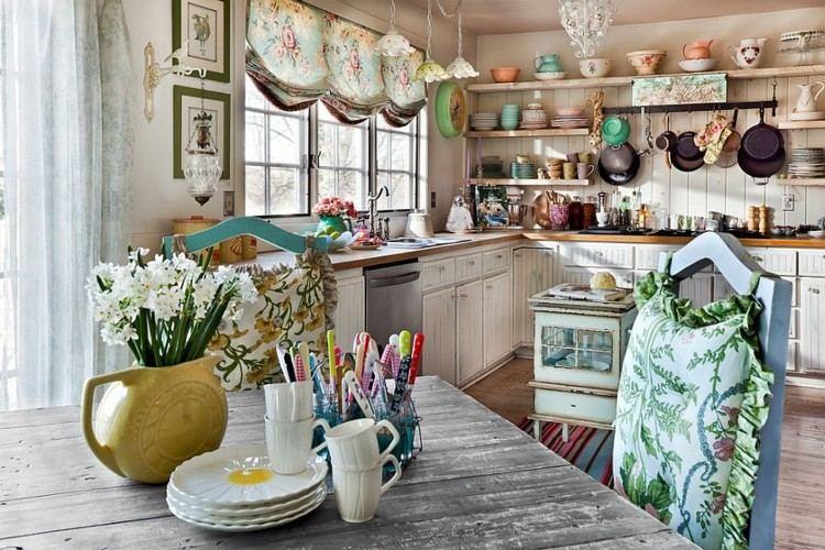 shabby chic cocinas ideas elegantes frescas flores