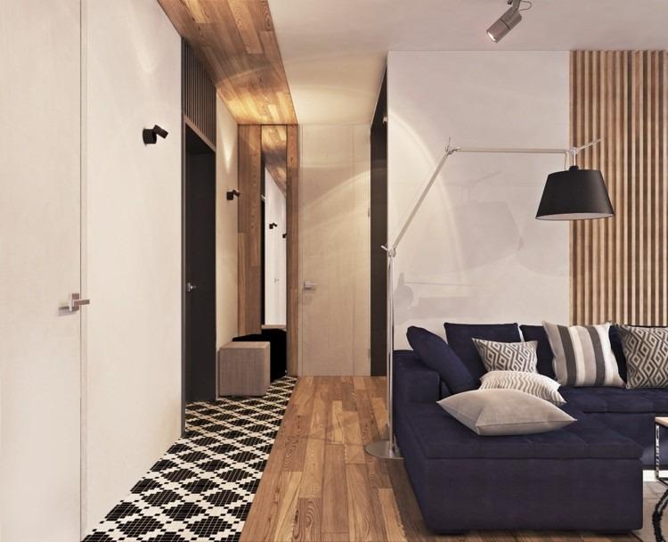 suelo madera grises lamparas negro alfombra