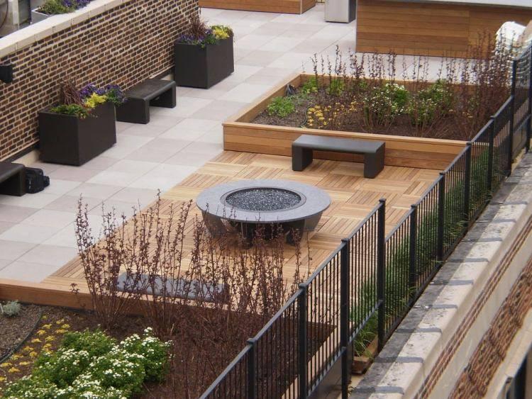 suelos madera exterior lugar fuego terraza ideas