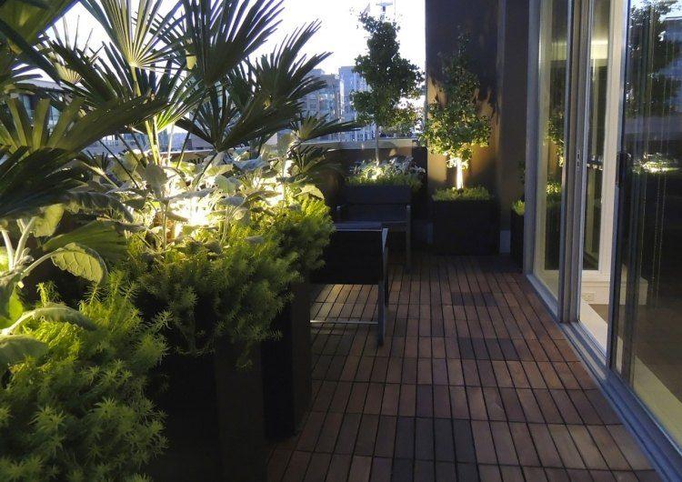 suelos madera exterior macetas balcon plantas ideas