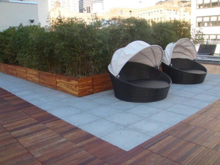 suelos madera losas rectangulares terraza ideas