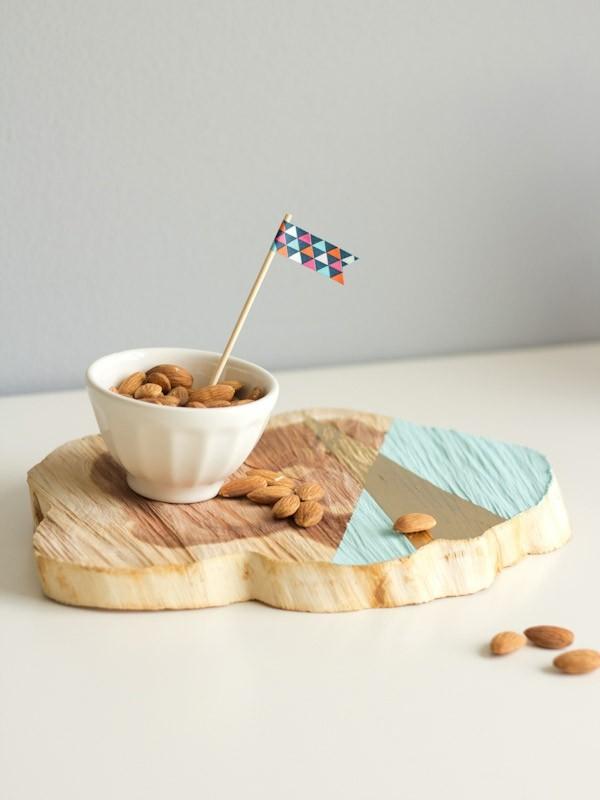 tabla madera trozo bandeja colores