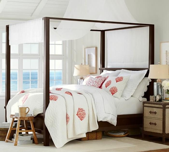taburete madera cama madera ventanales dormitorio ideas