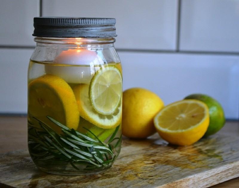 tarro limones romero vela blanca
