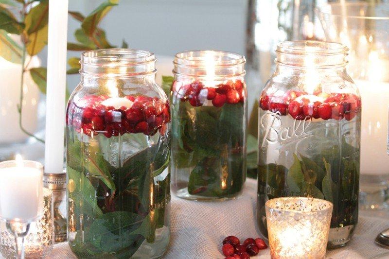 tarros bayas velas rojas hojas