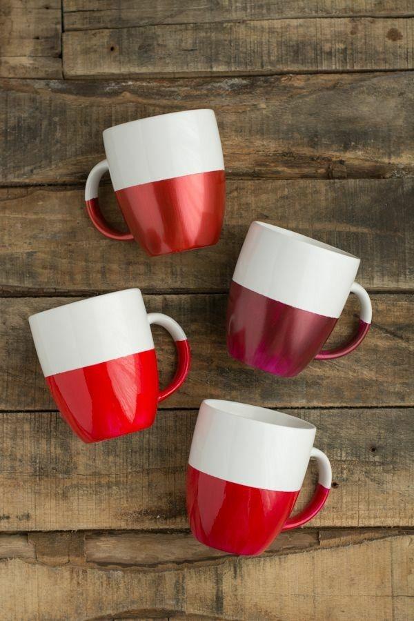 tazas cafe fondo pintado rojo