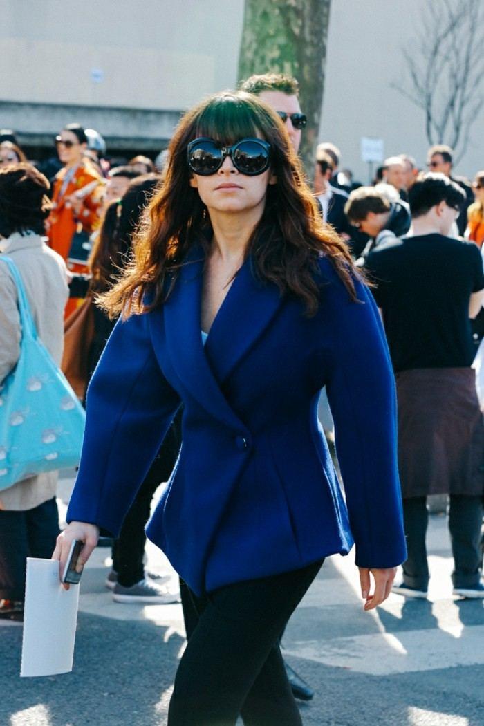 tendencias invierno 2015 abrigo corto azul ideas