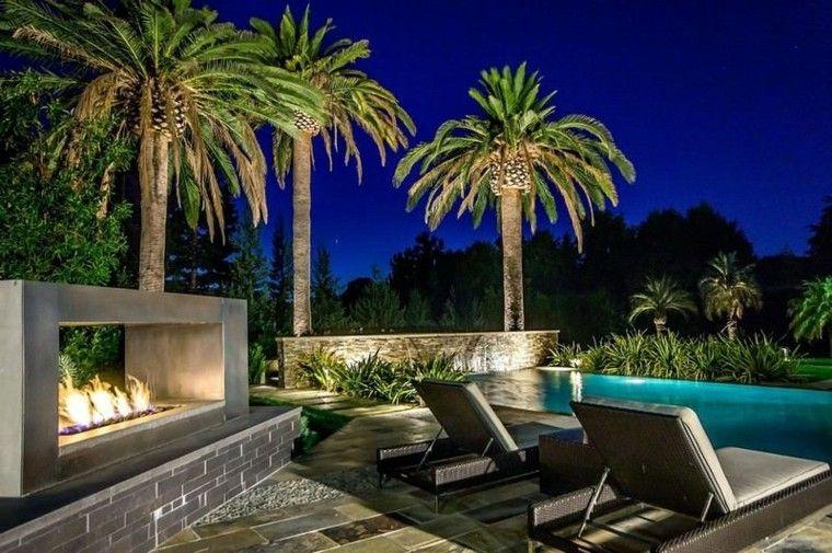 terraza moderna diseño palmeras gas