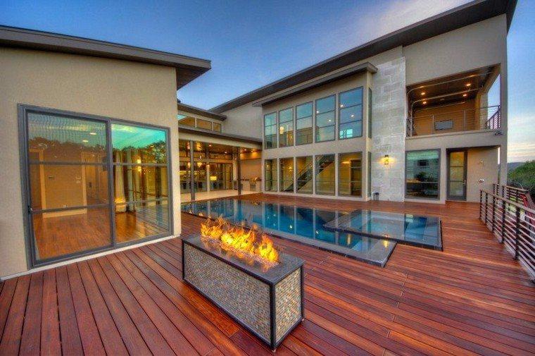 terraza moderna diseño variante chimeneas madera