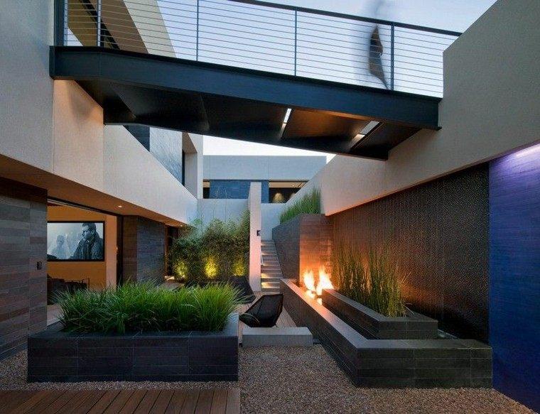 terraza moderna diseño variante techada plantas