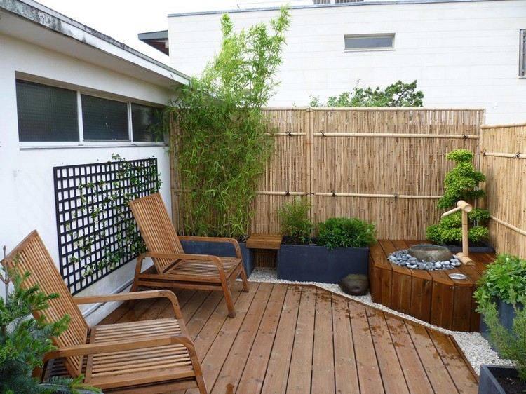 terraza muebles madera natural