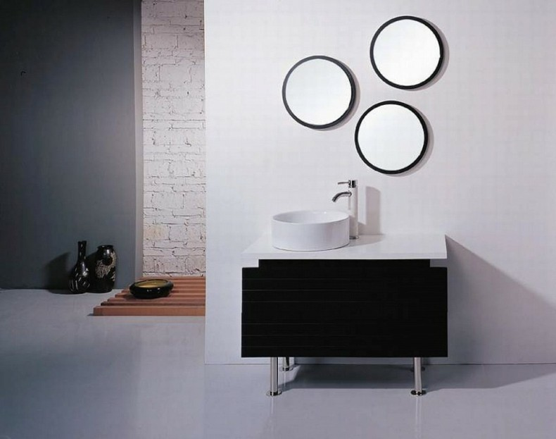 Espejos para ba os modernos 38 modelos con estilo for Decoracion de pared con espejos redondos
