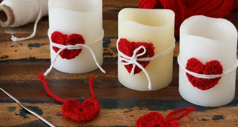 velas adornadas corazones crochet