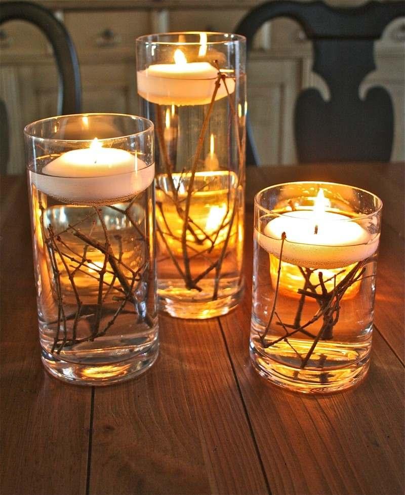 velas flotantes vasos tubo
