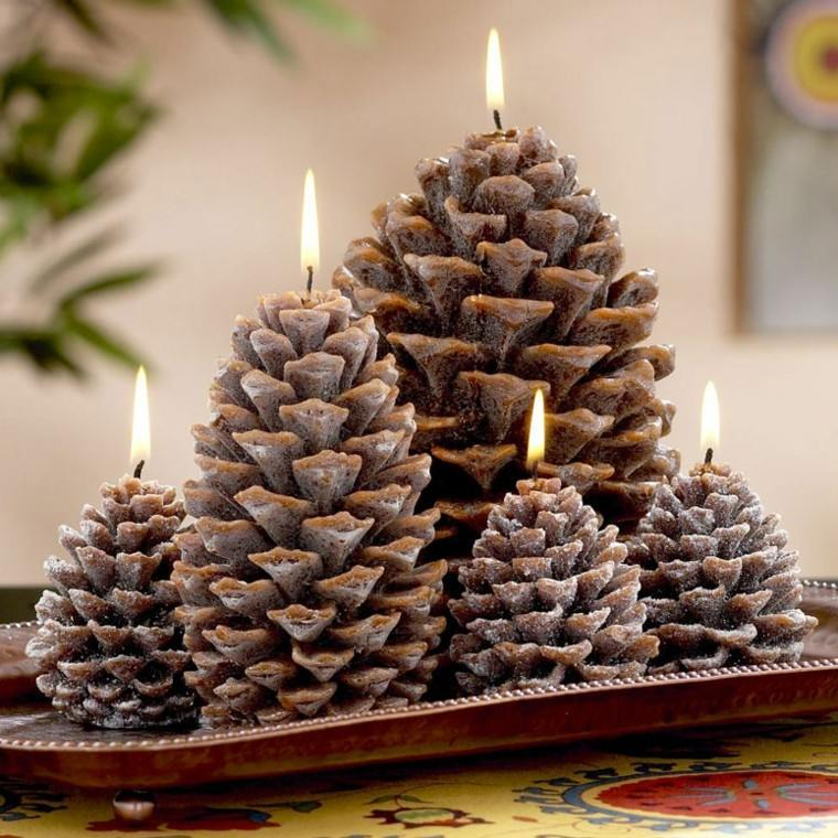 velas navidad forma piñas pino