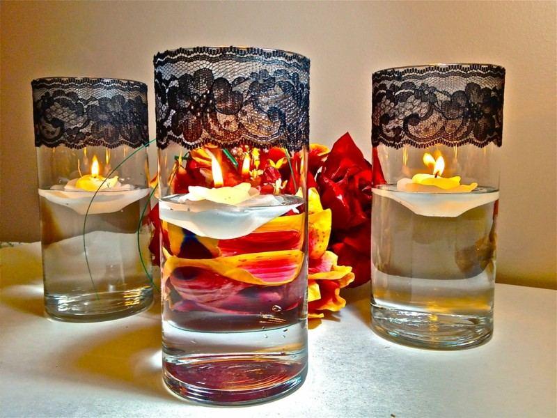 velas vasos tela encaje flores