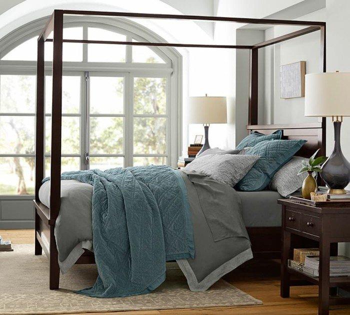 ventanales cama dosel dormitorio moderno ideas
