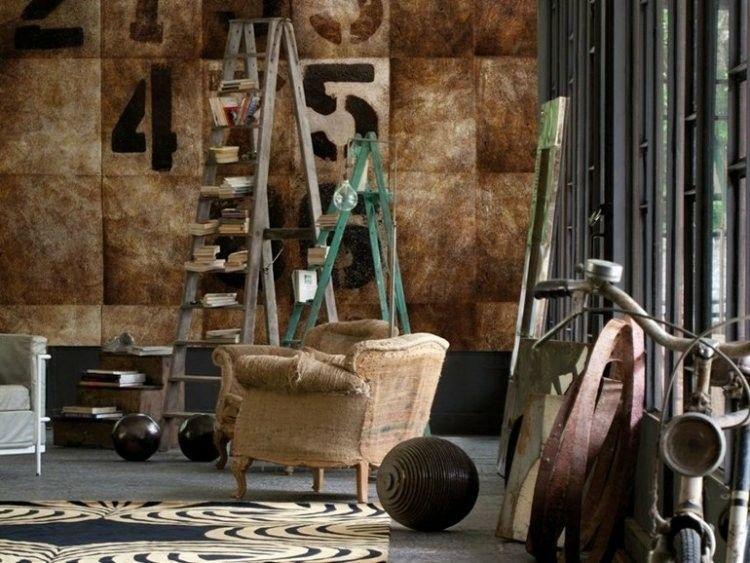 vintage paredes marrones estilos numeros