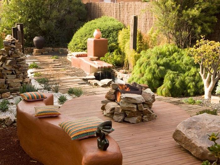 zen jardin suelo madera piedras ideas
