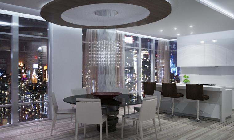Pepe Calderin casa moderna comedor mesa negra redonda
