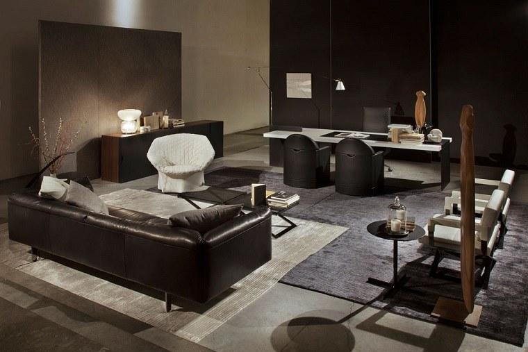 salon comedor alfombra colores oscuros