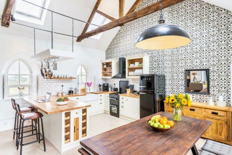 cocina preciosa abierta comedor pared losas