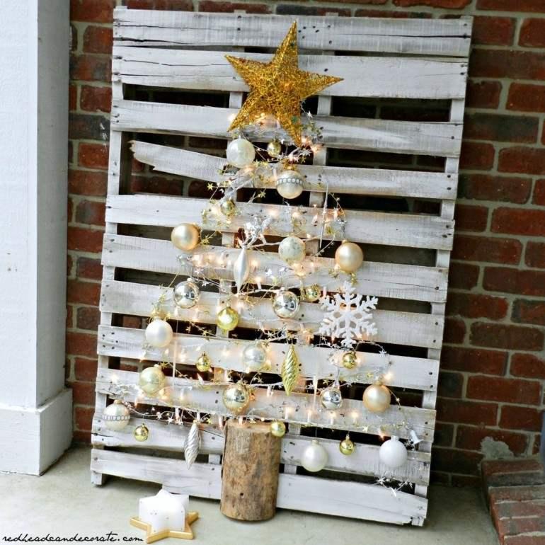 abeto navideño pallet madera