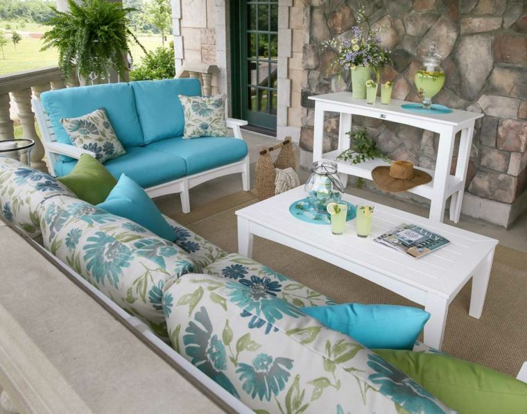 acolchados muebles jardin telas flores
