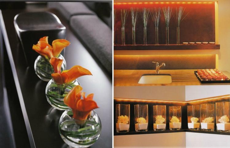 adornos florales cocina diseño vidrio