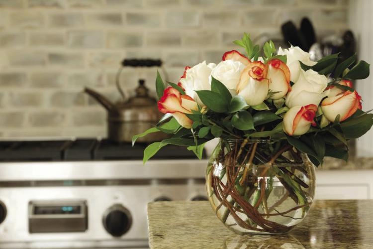 adornos florales cocinas vidrio sillas