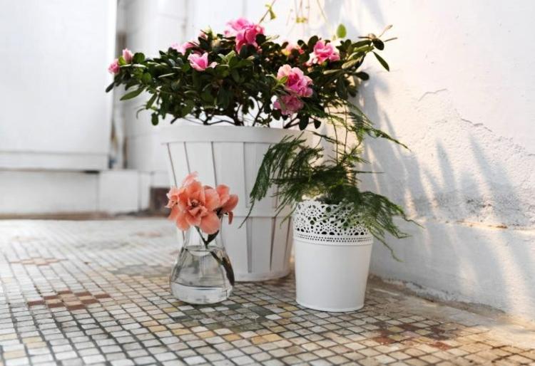 adornos florales verde rosa vidrio