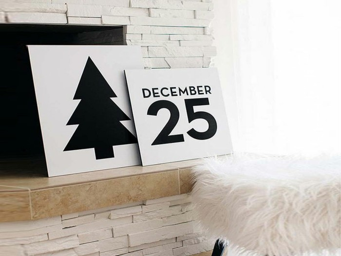 adornos navideños diseño ladrillos chimenea