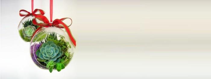 adornos navideños diseño suculentas cintas rojo