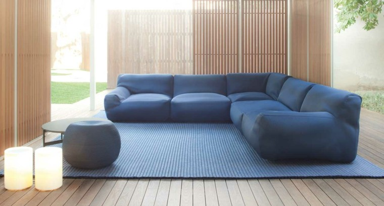 aide libre sofa azul preciosas pared bambu ideas