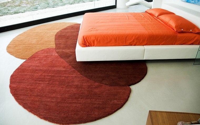 alfombra moderna dormitorio rojo naranja ideas