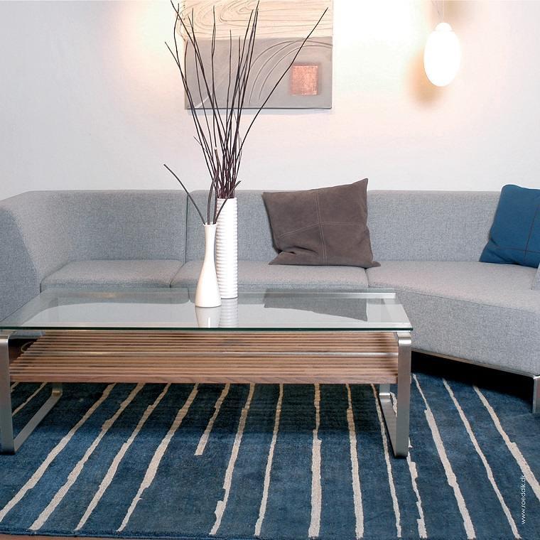 alfombras modernas azul rayas blancas ideas