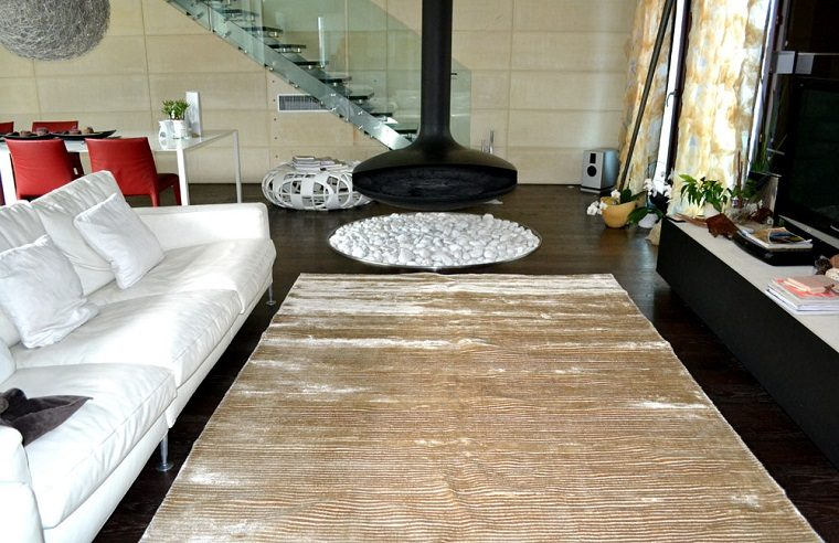 alfombras modernas chimenea moderna salon ideas