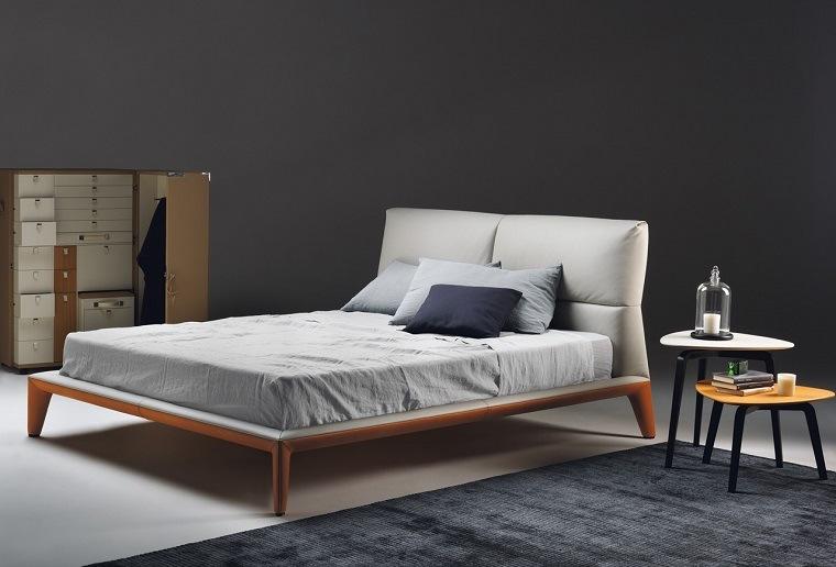 alfombra moderna dormitorio camas madera ideas