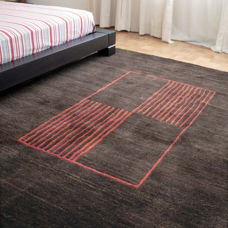 alfombra modernas figuras lineas negra ideas