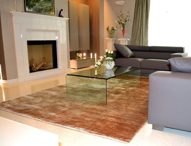 alfombra moderna mesa cristal salon ideas