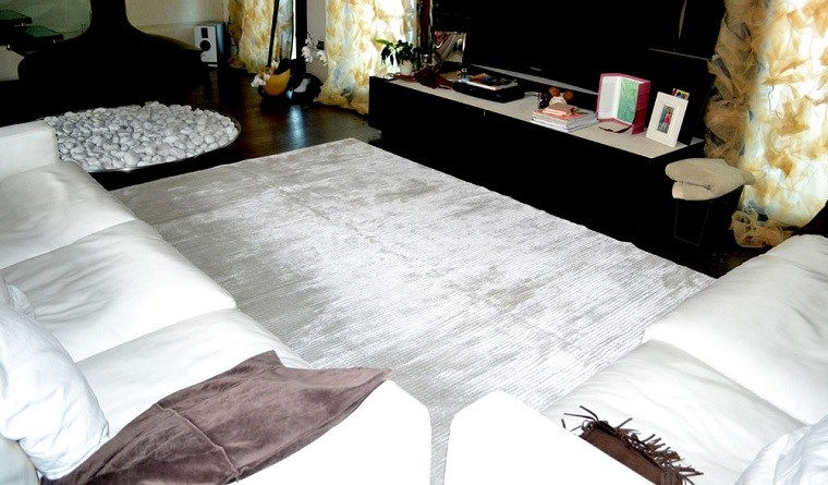 alfombra moderna muebles blancos salon ideas