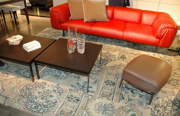 alfombra moderna sofa cuero rojo ideas