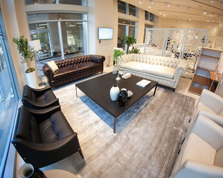 alfombras modernas sofas cuero ideas