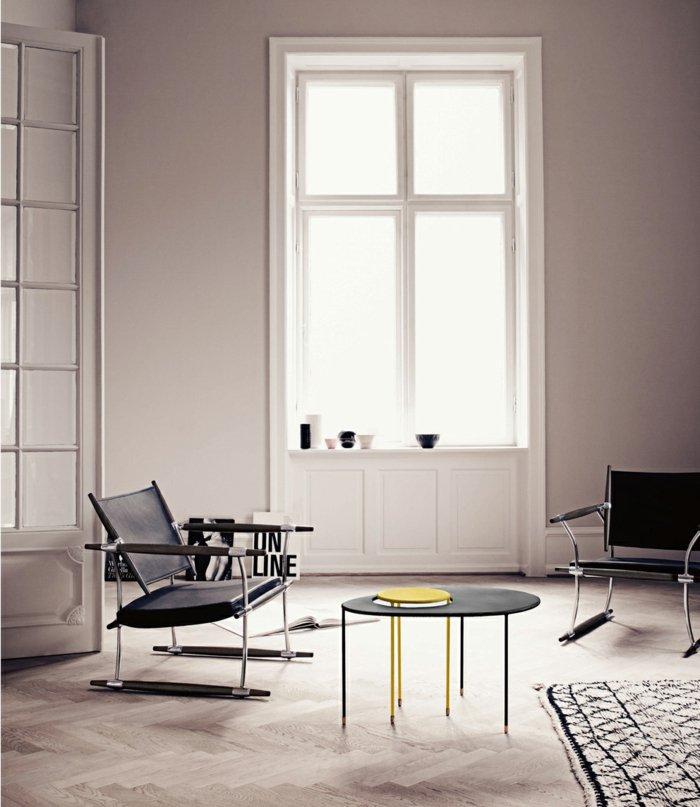 amarillo centro mesa hormigon metales blanco