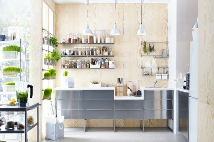cocina pequena muebles pared madera ideas