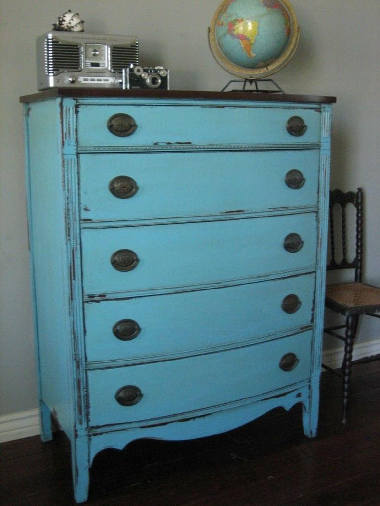 aparador color azul estilo vintage
