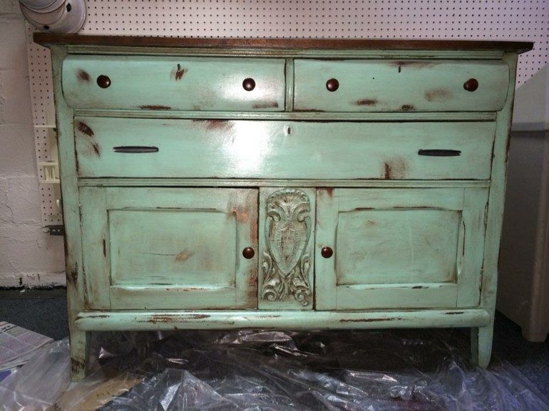 aparador estilo vintage verde jade