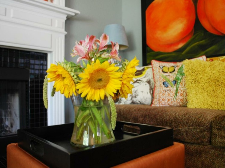 arreglos florales diseño amarillo bandeja naranja